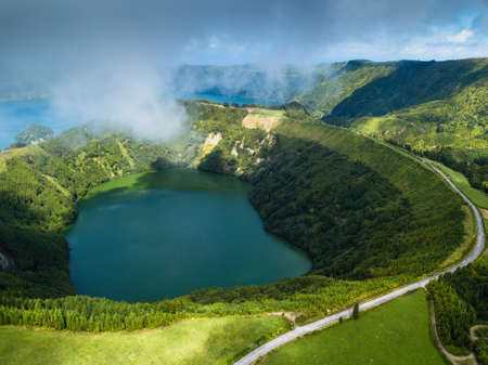 Hell's Mouth lakes in Sete Cidades volcanic craters on San Miguel island, Azores, Portugal. Фото со стока