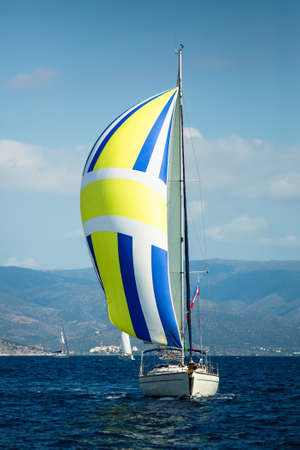 Sailing luxury yacht boat in the Aegean Sea in Greece.