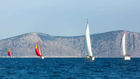 Sailing luxury yacht boats on the Aegean Sea, Greece.