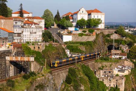 Train of Porto Metro in Old Town, Portugal.