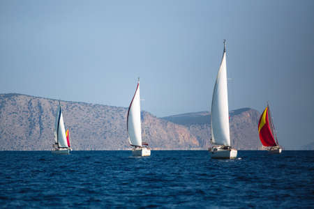 Adventure and luxury holiday. Sailing boats in the sail yacht regatta at Aegean Sea. Reklamní fotografie