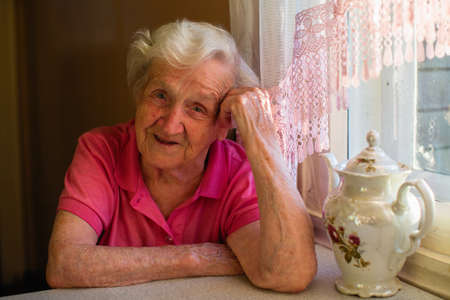 Portrait of an elderly woman in her home. Imagens