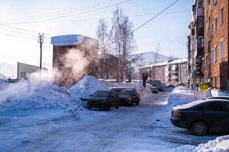 On one of the streets in Sheregesh urban-type settlement, Mountain Shoria, Siberia - Russia.