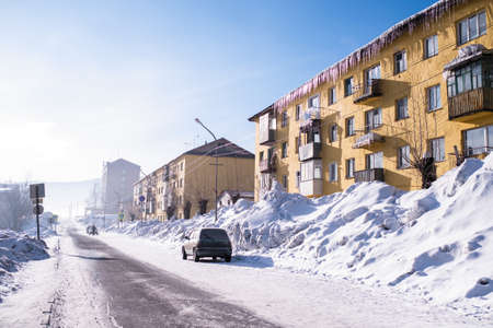 View of one of the streets of the Sheregesh urban locality in Mountain Shoria, Siberia - Russia. 写真素材