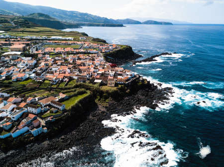 Top view of the San Miguel island - Azores, Portugal. Stock Photo