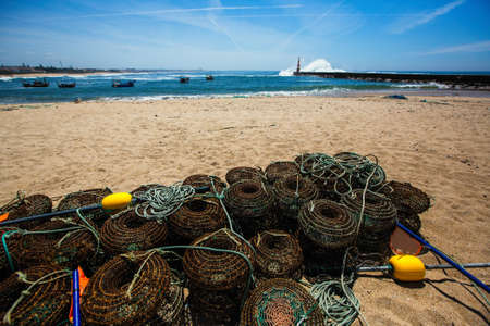Fishing gear lying on the ocean coast.