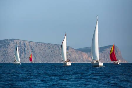 Sailing yacht boats in regatta at the Aegean Sea - Greece.