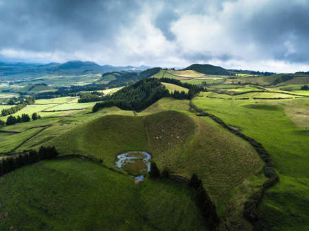 Green fields of San Miguel island, Azores, Portugal.