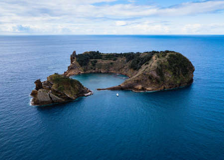 Aerial view of the Islet of Vila Franca do Campo. Azores, Portugal. Stock Photo
