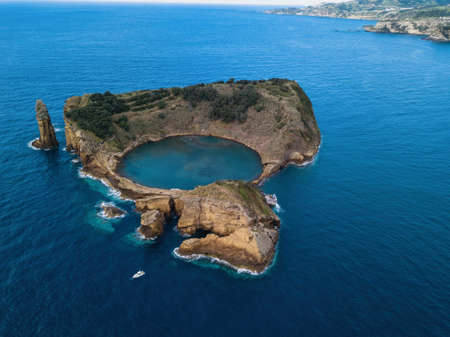 Aerial view of the Islet of Vila Franca do Campo, Azores islands, Portugal.