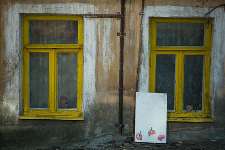 VORONEZH, RUSSIA - OCT 27, 2019: Windows of one of the houses in the historical part of the city. The city was founded in 1586, the population is more than one million people as of 2019. Sajtókép