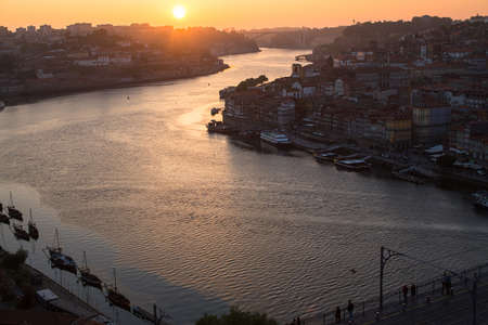 PORTO, PORTUGAL - APR 16, 2017: Bird's-eye view of Dom Luis I bridge and Douro river. City of Porto was elected from 20 selected Best European Destination 2017-2018 and won this prestigious title.