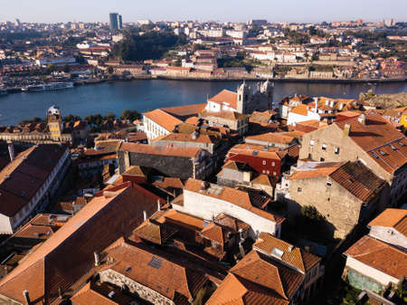 Aerial view roof of houses in center of Porto, Portugal.