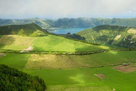 Lakes in Sete Cidades. Landscape of San Miguel island, Azores, Portugal. Archivio Fotografico