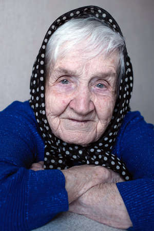 Close-up portrait of senior woman. Russian grandmother. Standard-Bild