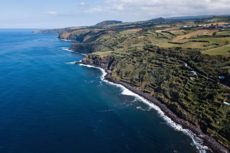 Bird's eye view of the Atlantic coast of San Miguel island, Azores, Portugal.