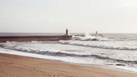 Surf on the atlantic ocean embankment in Porto, Portugal. Banco de Imagens