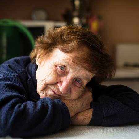 Portrait of an old lady in her home. Elderly pensioners.