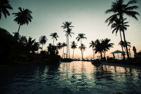 Beautiful twilight on a asian tropical sea beach.