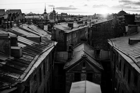 Top view of the roofs of St. Petersburg. Black and white photography.