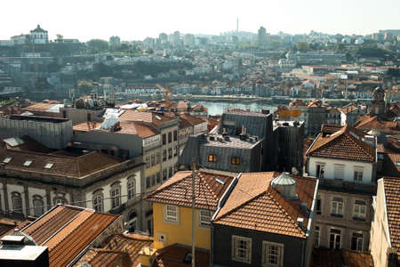 View of the old town and Douro river, in the center of Porto, Portugal.