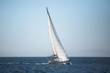 Boats in the Aegean Sea. Yachting. Luxury sailing. Banco de Imagens