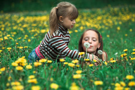 Cute five year old and eleven year old girls blowing dandelion seeds away in the meadow.