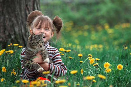 Lovely little five-year girl and cat in green grass.