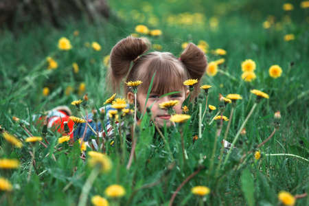 Lovely little five-year girl hid in green grass.
