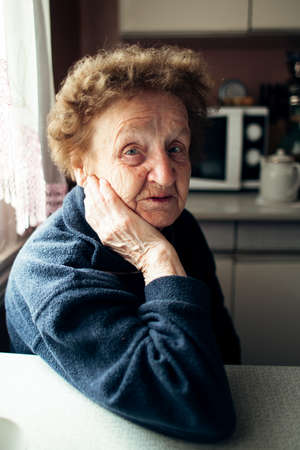 Portrait of old woman in the kitchen at rural home. Stockfoto