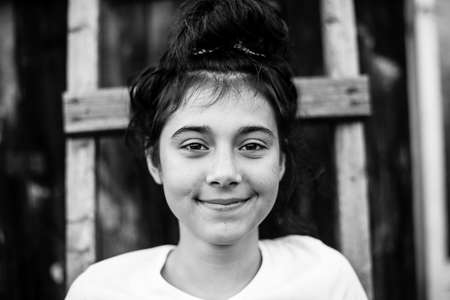Portrait of teen girl outdoor. Black and white photography. Stockfoto