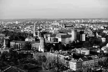 Top view of the Krakow in the historic city center. Black and white photo. Stock Photo