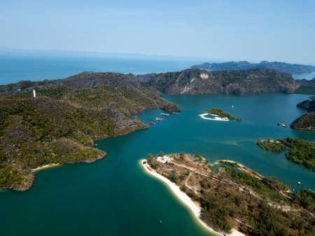 Area of Park Kilim Geoforest. Beautiful bay, coastline, mangroves and mountains on photo. Langkawi, Malaysia.