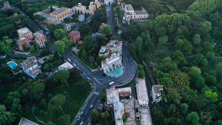Aerial footage of Rome, Italy. Center of ancient Rome from drone.