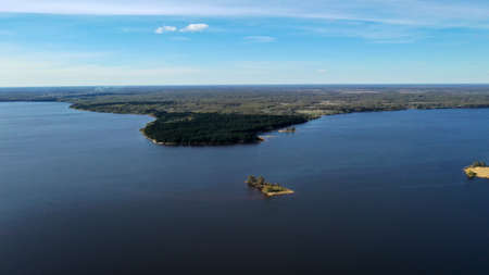 Aerial view of Kalyazin, Russia. Volga River and Uglich Reservoir from drone. Beautiful landscape near Kalyazin bell Tower.