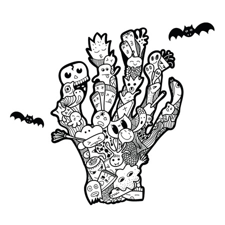 Halloween hand drawn doodle. Dead Mans hand. Funny abstract illustration for a party invitation. Illustration