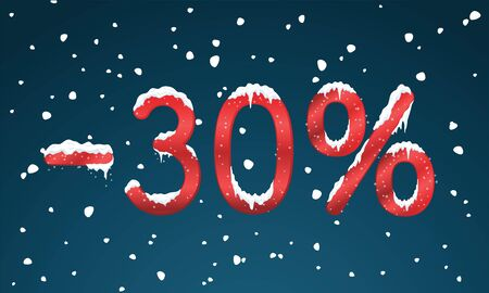 icicles: 30 percents discount numbers with snow and icicles. Snowing retail winter digits for your business web site or banners. Illustration