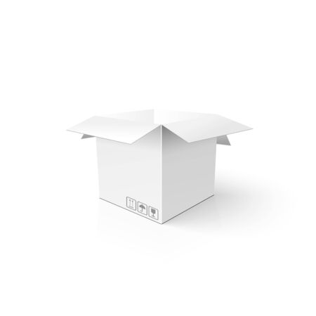 Clean opened carton package. Mock-up template for your product.