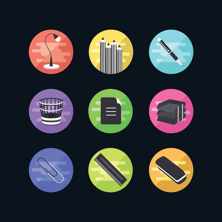 9 office icon sets vector illustration. Web advantages for your site.