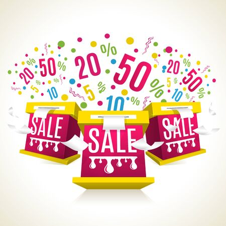A vector illustration of boxes with sale text on white background.