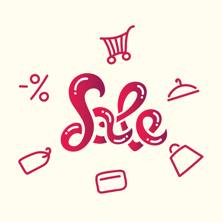 A vector illustration of sales inscription on white background.