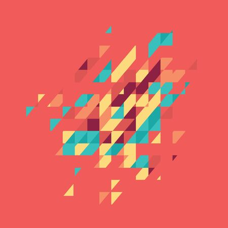 Abstract colored geometric theme. Flat modern mosaic. Busines theme for your presentation on red background