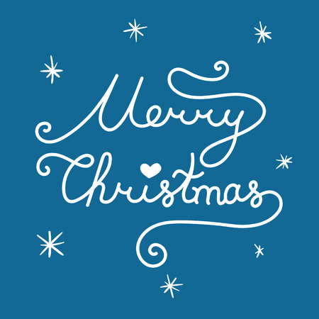 Merry Christmas inscription. Linear hand drawn lettering with curves. Calligraphy script on blue background for your greeting card
