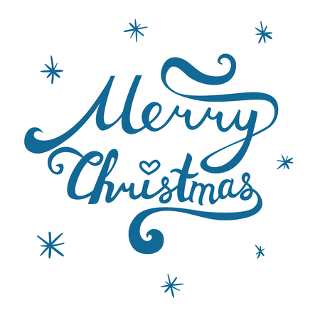 Merry Christmas inscription. Hand drawn lettering with curves. Calligraphy script on white background for your greeting card Çizim