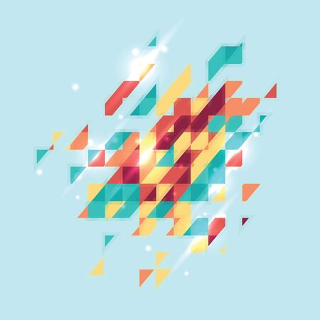 Abstract colored geometric theme. Flat modern mosaic. Busines theme for your presentation on turquoise background Çizim