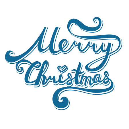 Merry Christmas inscription. Hand drawn lettering with curves. Calligraphy script on white background for your greeting card Illustration