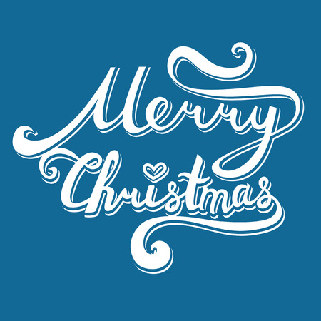 Merry Christmas inscription. Hand drawn lettering with curves. volumetric calligraphy script on blue background for your greeting card
