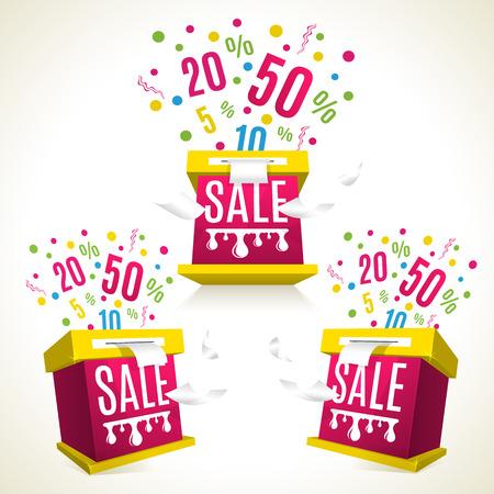 3D sale-boxes. Discounts eposion. Shopping celebtation