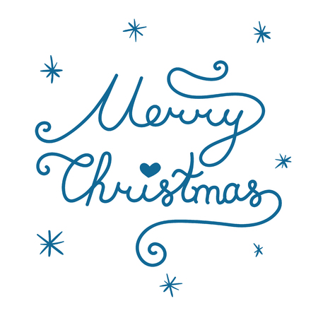 Merry Christmas inscription. Linear hand drawn lettering with curves. Calligraphy script on white background for your greeting card