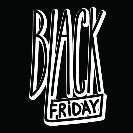 Black friday handdrawn linear inscription. Modern calligraphy sign in big shopping day. Label for your web business retail Çizim